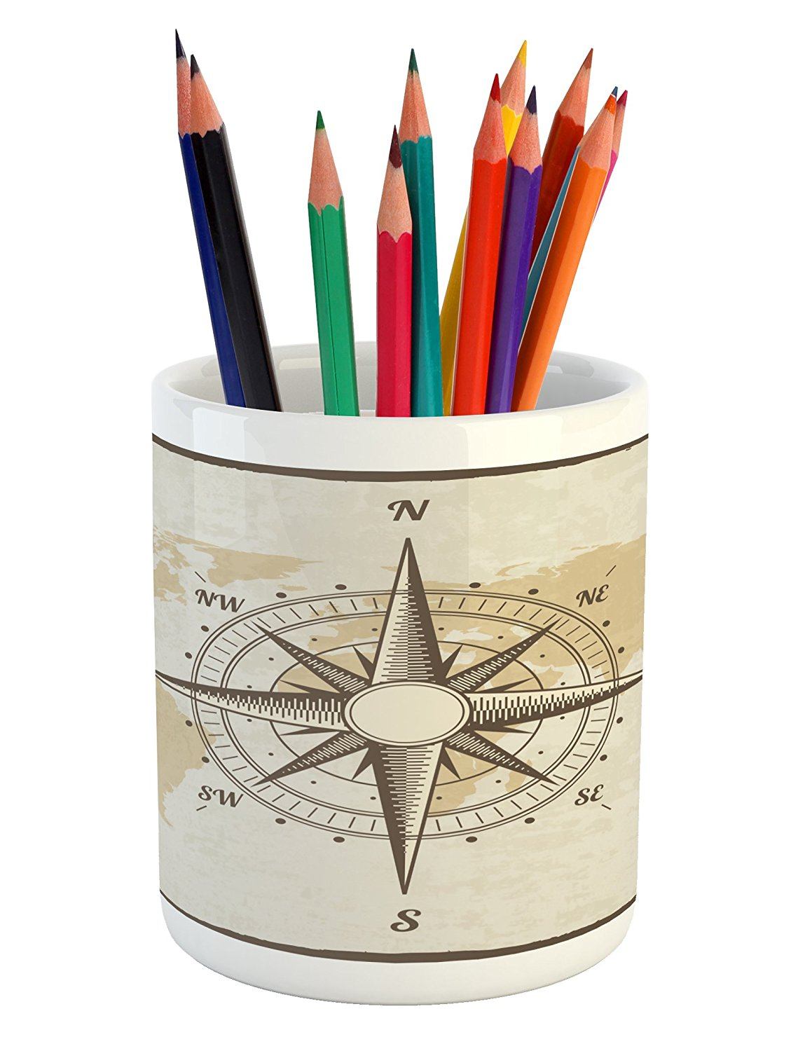 Lunarable Nautical Pencil Pen Holder, Compass on World Map with Continents Africa America Antique Adventure, Printed Ceramic Pencil Pen Holder for Desk Office Accessory, Beige Tan and Brown