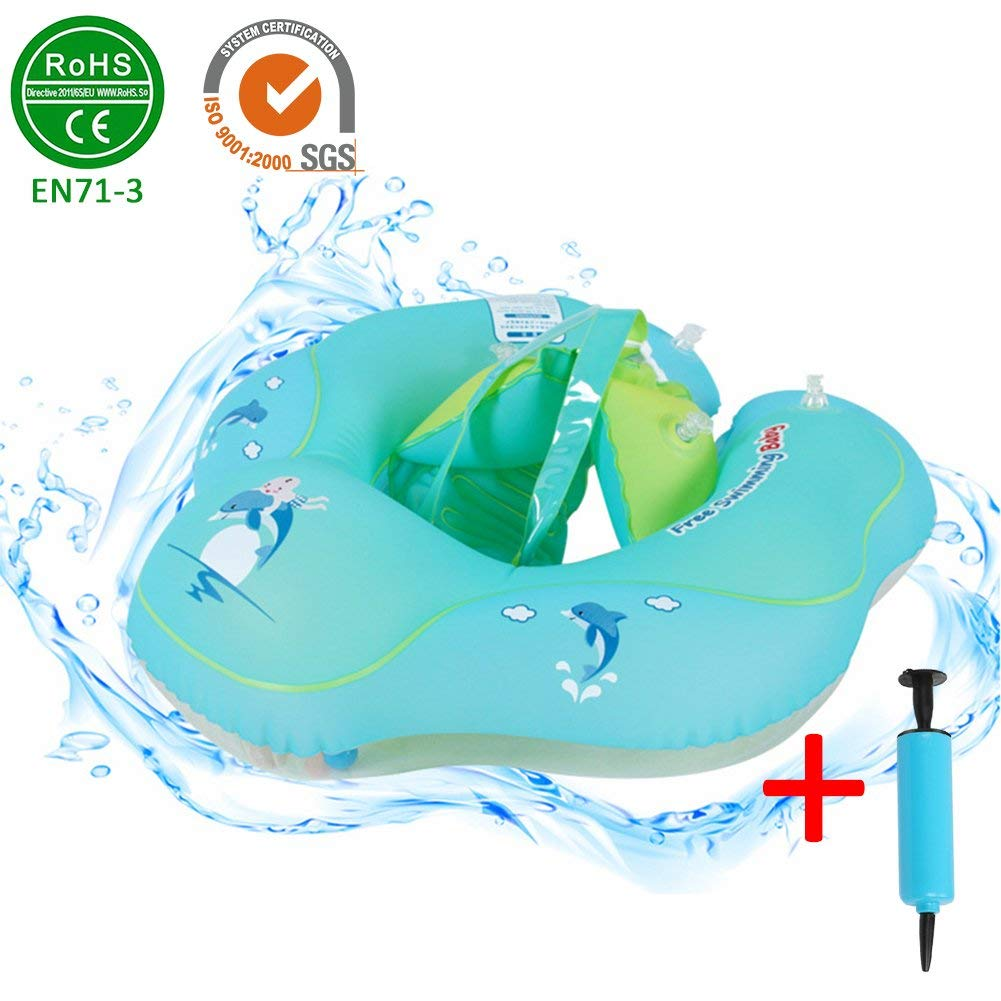 5960e5c07954 Get Quotations · DZSJ Infant Underarm Inflatable Pool Float with Backrest  and Strap Baby Waist Inflatable Circle Float Swimming