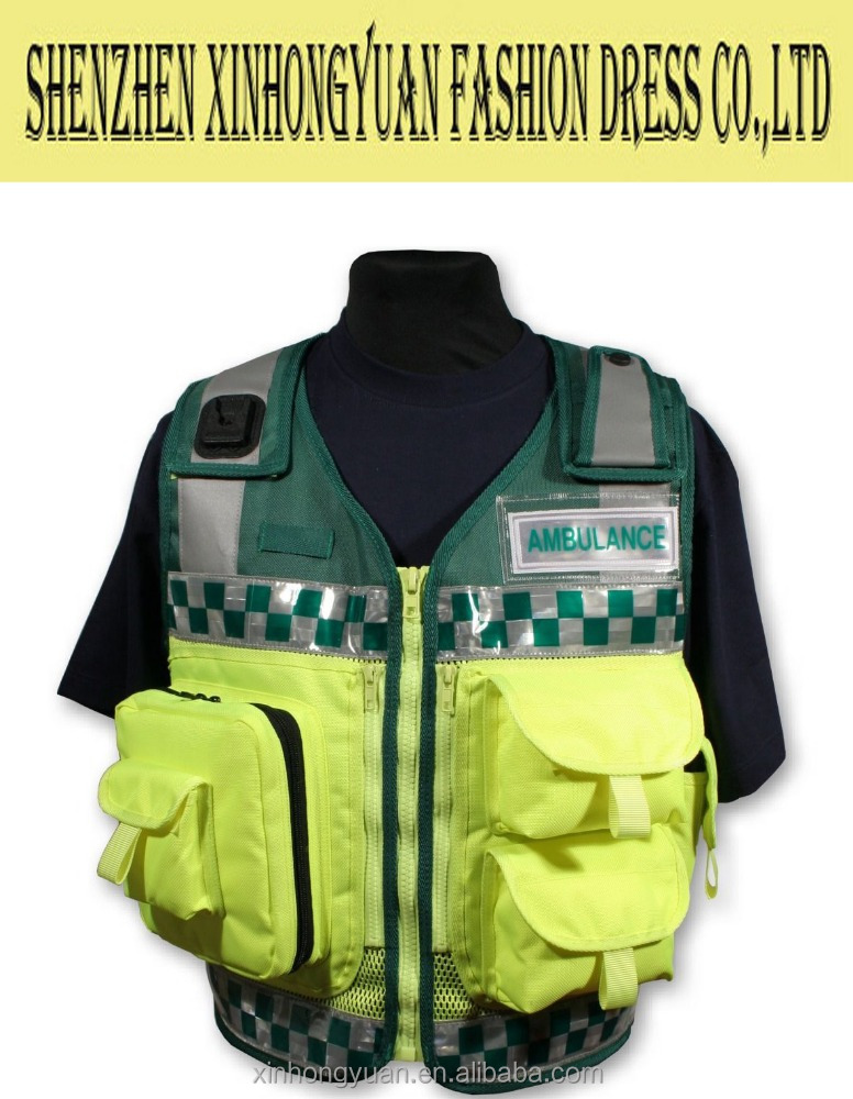 Protective paramedic hi vi ambulance responce vest with reflective tapes