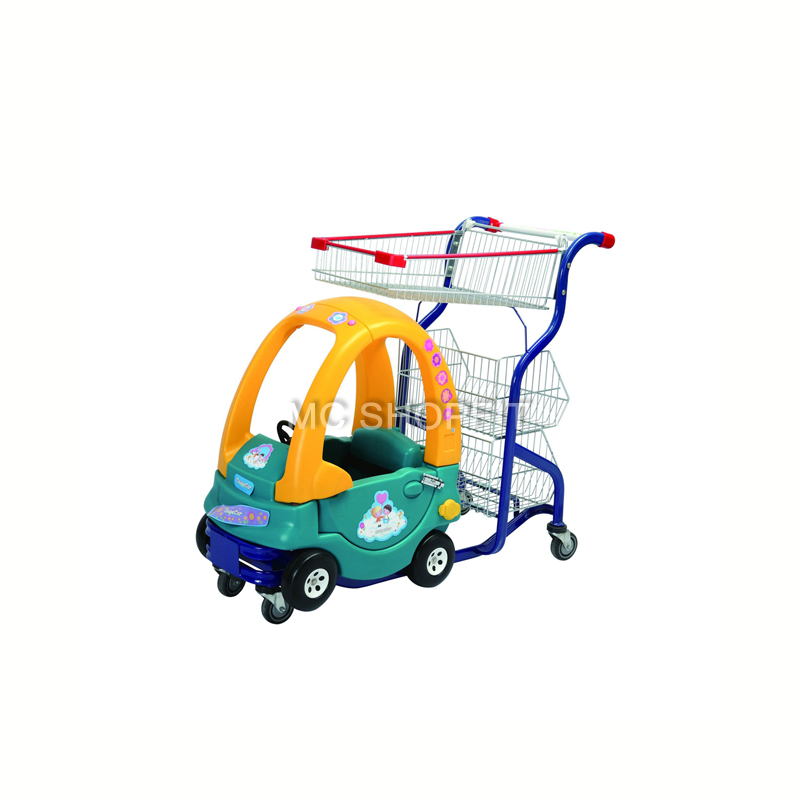 Metal shopping cart with kids toy mall trolley car