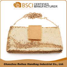 High quality Spain style golden clutch evening bag lady shoulder bag