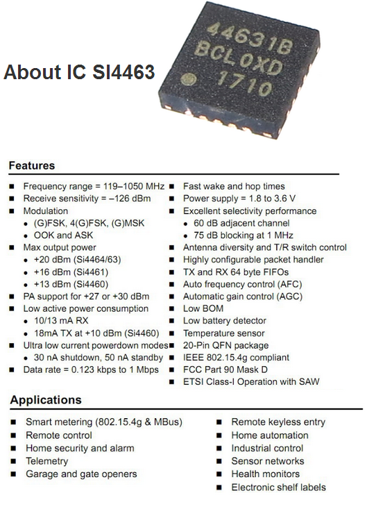 Mini Wireless Transceiver Module Si4463 433mhz With Spring