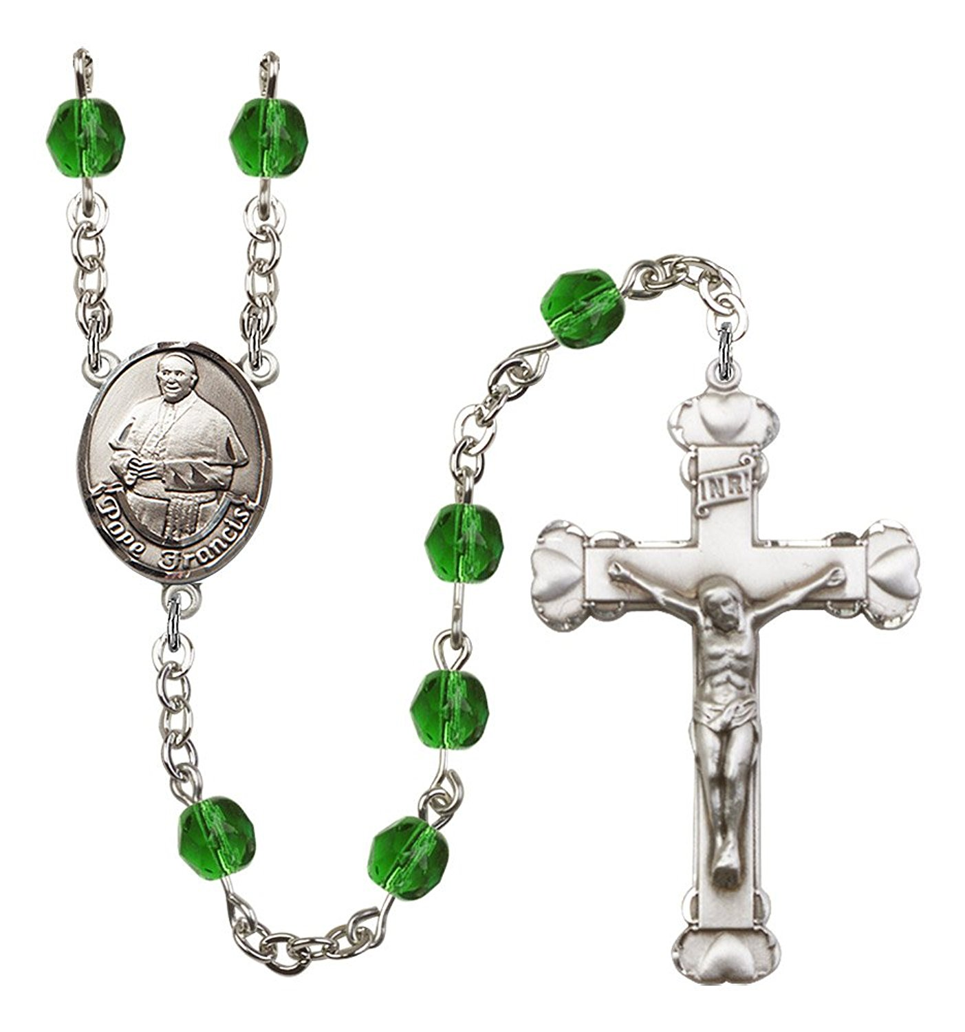Silver Finish Pope Francis Rosary with 6mm Emerald Color Fire Polished Beads, Pope Francis Center, and 1 5/8 x 1 inch Crucifix, Gift Boxed