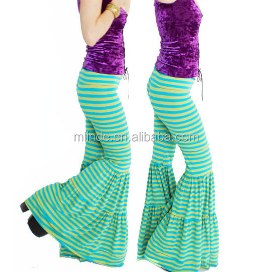 Striped Flow Pants Turquoise Chartruse Cotton Spandex Yoga Style Hippy Flares Gypsy Sexy Bell Bottoms Belly Dance Capris Pants