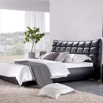 2018 Modern Bedroom Queen Size PU Leather Bed Latest Double Beds Design  Furniture