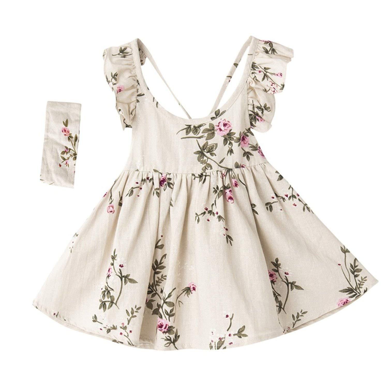 Wanyesta Baby Girls Dress Summer Toddler Kids Hair Band Floral Print Backless Party Princess Dresses Children Clothing Linen