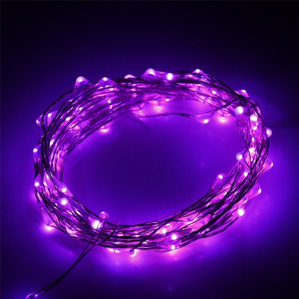 E-Age Indoor and Outdoor Waterproof Battery Operated 60 LED String Lights on 20 Ft Long Silver Color Ultra Thin Copper String Wire with Timer(Purple)