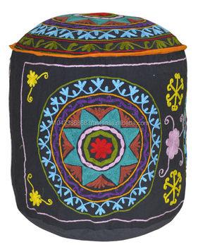 Enjoyable Whole Sale Flower Embroidery Work Bean Bag Cotton Ottoman Cover Handmade 18 X 18 X 18 Inches Buy Wholesale Beanbag Covers Flower Embroidery Ottoman Creativecarmelina Interior Chair Design Creativecarmelinacom