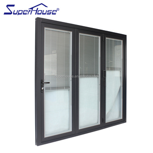 Australia AS2047 standard double glass folding door aluminium collapsible doors with blinds inside