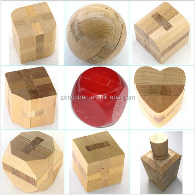 3D Wooden Brain Teaser T-shaped Tetris Blocks Geometric Puzzle Educational Toy for Kids and Adults