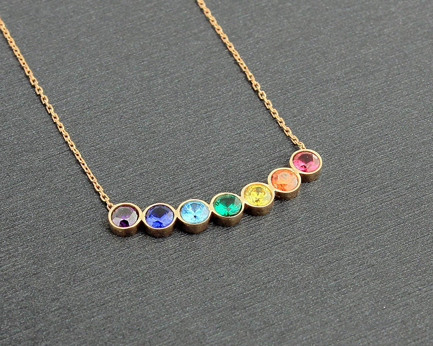 Meditation Necklace Chakra Necklace Chakra Stone Necklace with 18 Silver Plated Chain Chakra Point Necklace Chakra Jewelry