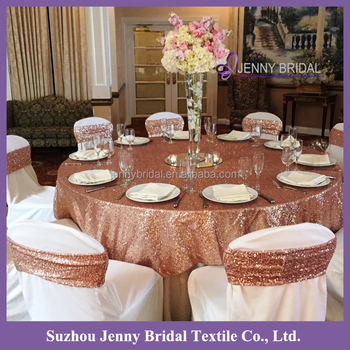 SQN#24 Indian Rose Gold Polyester Sequin Table Cloth Dubai