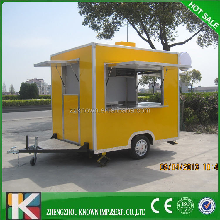 Big window and wheels commercial street food cooking trailer ,food van for sale