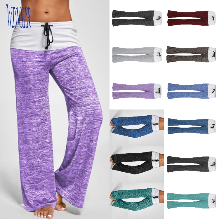 Wholesale Fashion Ladies Plus Size Spandex Casual Lounge Palazzo High Waisted Gym Fit Drawstring Wide Leg Yoga Loose Pant Women