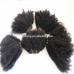 China factory wholesale raw material unprocessed mongolian kinky curly 3b-3c hair weft/meche/extension