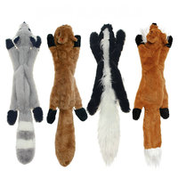 Skinny Peltz No Stuffing Squeaky Plush Dog Toy, Fox, Raccoon, Squirrel animal shaped dog chew toy