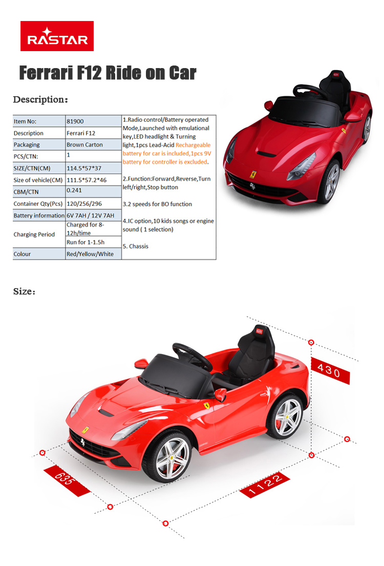 RASTAR Ferrari Licensed Ride On Car 12V Kids Electric Cars