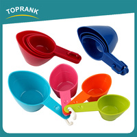 Toprank Colorful 4Pcs Measuring Cups and Spoons Set Plastic Measuring Tea Coffee Spoons In Various Sizes Measuring Scoop Set