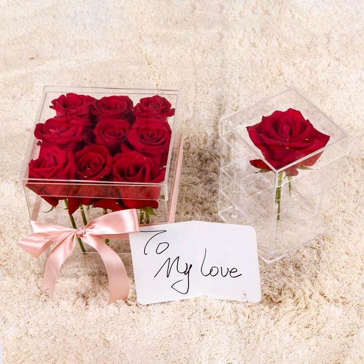 Acrilico fiore della rosa scatola di fabbrica con diverse dimensioni del commercio all'ingrosso