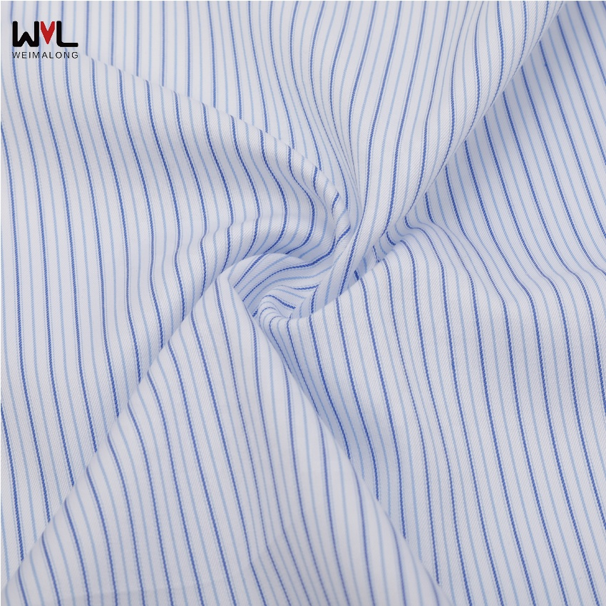 Hot selling with high quality 100S bule stripe cotton fabric with garment-dipping