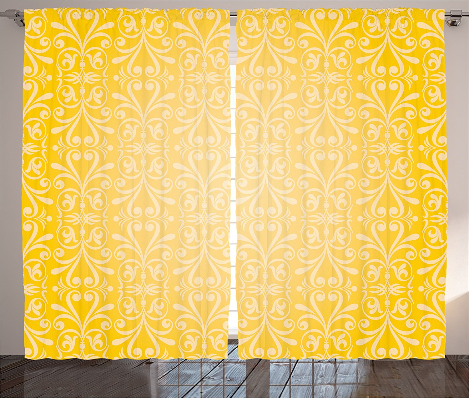 Yellow Curtains Home Decor By Ambesonne, Diagonal Swirling Ornate Victorian  Damask Patterns On Retro Background