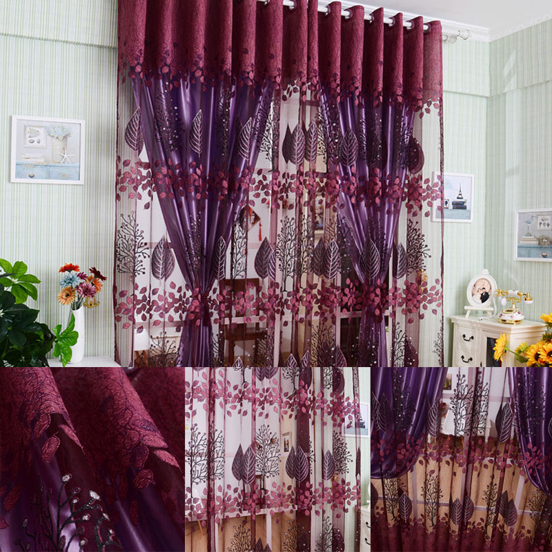 Hot 1 2 5m Flower Printes Tulle Voile Door Window Curtains