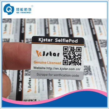 Qr code sticker printing security label sticker security adhesive scratch off stickers