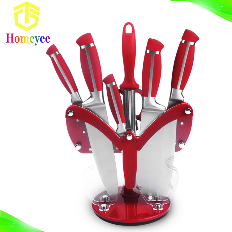 Red Handle Classic Royal Kitchen Knife Set With Butterfly Acrylic Stand Buy Classic Royal Kitchen Knife Set Product On Alibaba Com