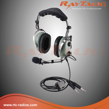 Two way radio pilot aviation headset with metal boom arm & Electret microphone