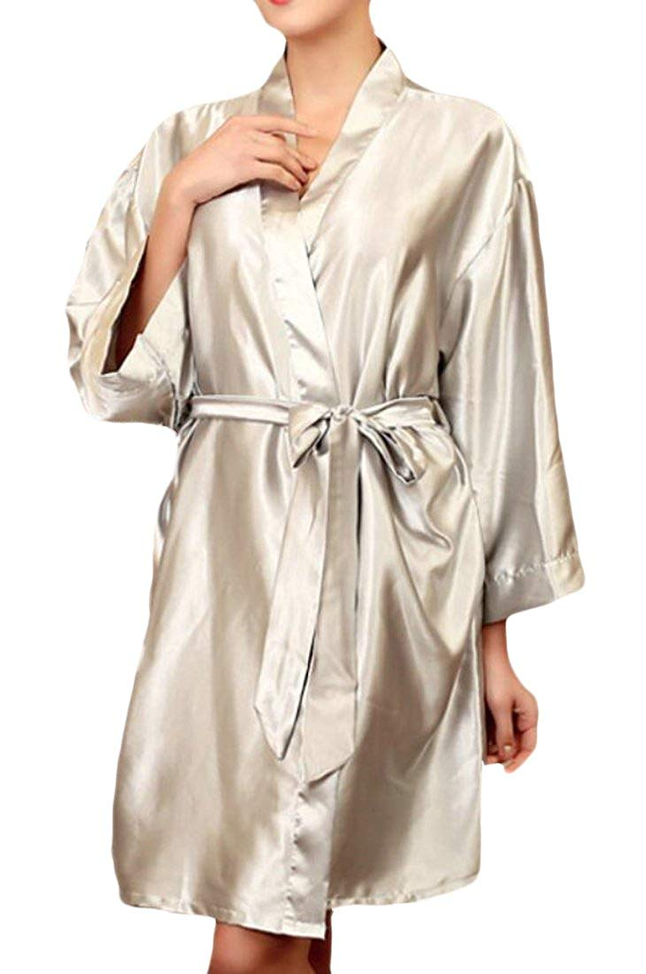Get Quotations · Suncolor8 Womens Sleepwear Silk Satin Plus Size Nightgowns  Solid Color Nightgowns bcfaca775