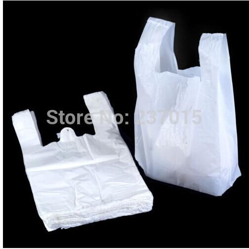 18*28cm 100pcs/lot White Bags Shopping Bag Supermarker