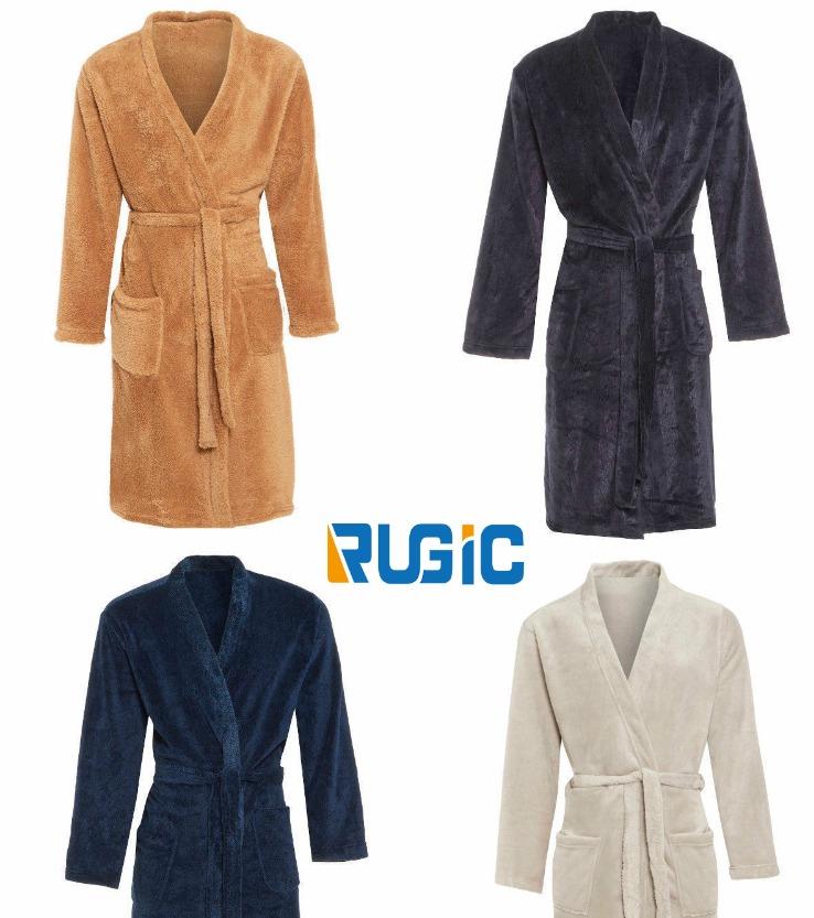 Mens Fleece Dressing Gown Luxury Kimono Navy Blue Grey Coffee Winter ...