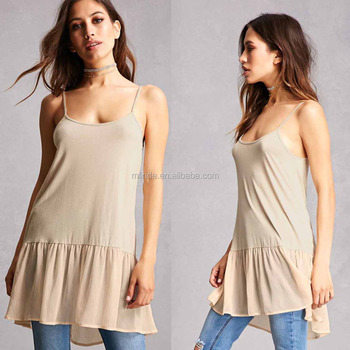 women clothing manufacturers round neckline Chiffon Cami Tunic fancy tops classic style in clothes