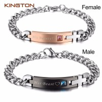 2pcs Stainless Steel Couple Bracelets Lover Relationship Bracelets His Beauty Her Beast