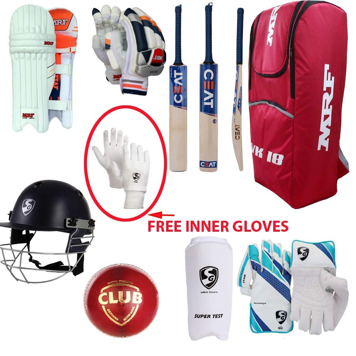 Senior League 20-20 Cricket Kit Kashmir Willow Bat Set For 13+Yr Child Full Size