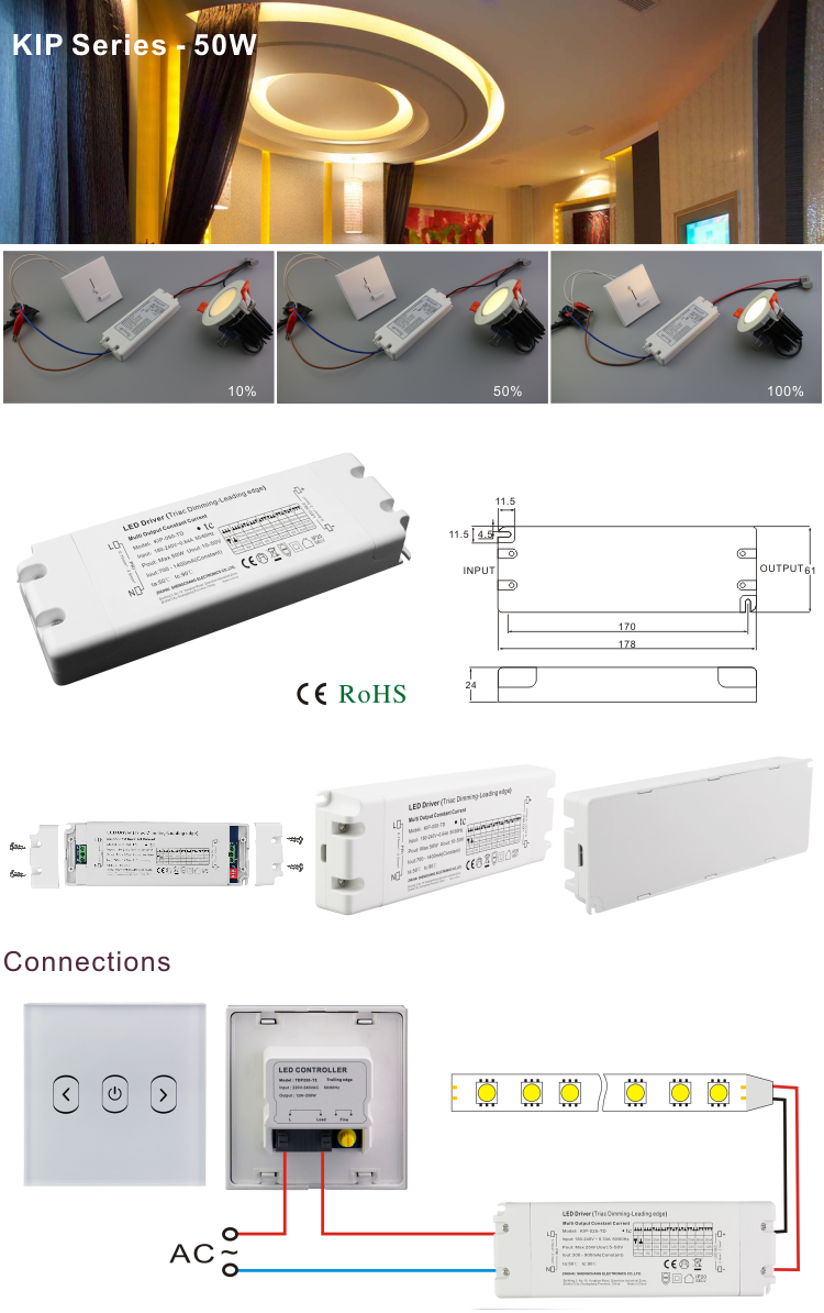 50W multi-current lighting power supply is suitable for shopping malls, office building, hotels, homes and exhibition spaces