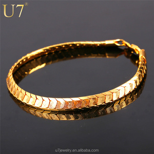U7 Scale Chain Bracelets For Men Jewelry 18k Real Gold/Platinum Plated Mens Bracelets 2016 Fashion Indian Jewelry Wholesale