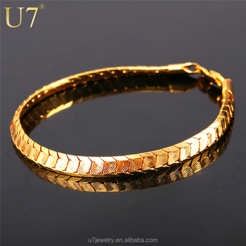 U7 Scale Chain Bracelets For Men Jewelry 18k Real Gold Platinum Plated Mens 2017