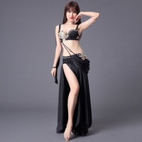 3 Colors New Belly Dance Costume Woman Oriental Clothes Sexy Bra Tops Female Adult Belly Dancing Bra Skirt 2 Pieces/ Set DL2227