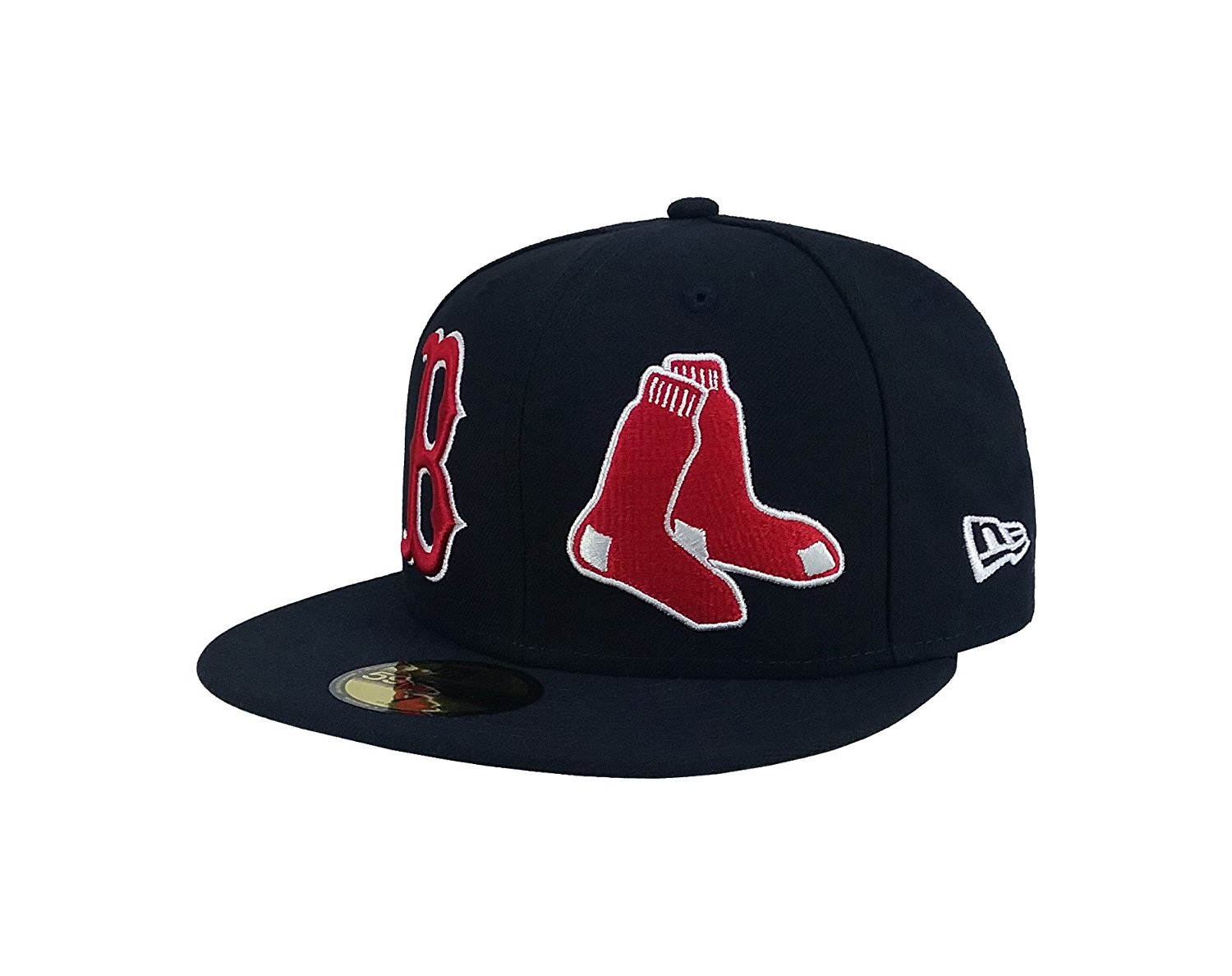 new concept 77623 8ed53 Get Quotations · New Era 59Fifty Hat MLB Boston Red Sox Heritage Patch d Up  Fitted Navy Blue
