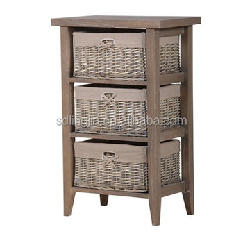 Delicieux Hand Woven Grey Wicker Basket Drawers Cabinet Wooden Organizer In Kitchen