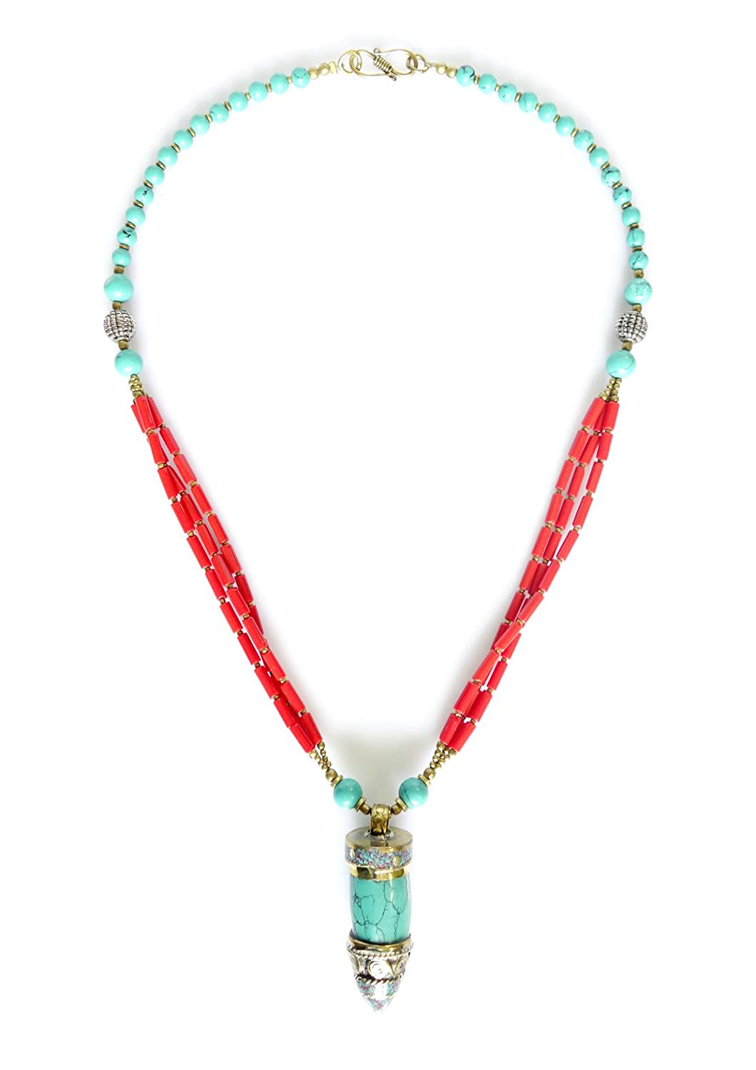 Tibetan Silver ELEGANT TURQUOISE AND CORAL GEMSTONE MULTI STRAND BEADED FASHION PENDANT NECKLACE BUDDHIST BOHEMIAN ETHNIC TRIBAL DESIGNER UNIQUE NECKLACE FOR WOMAN