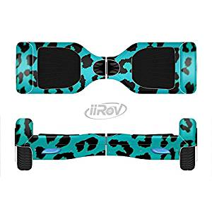 The Hot Teal Vector Leopard Print Full-Body Wrap Skin Kit for the iiRov HoverBoards and other Scooter (HOVERBOARD NOT INCLUDED)