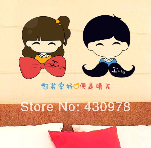 New Arrive QZ1197 Free Shipping Young Love Couple Icecream Heart Removable PVC Wall Stickers <font><b>Elegant</b></font> <font><b>Home</b></font> <font><b>Decoration</b></font> Gift
