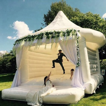Factory Price Commercial Inflatable White Jumping Wedding Bouncy Castle For Adult