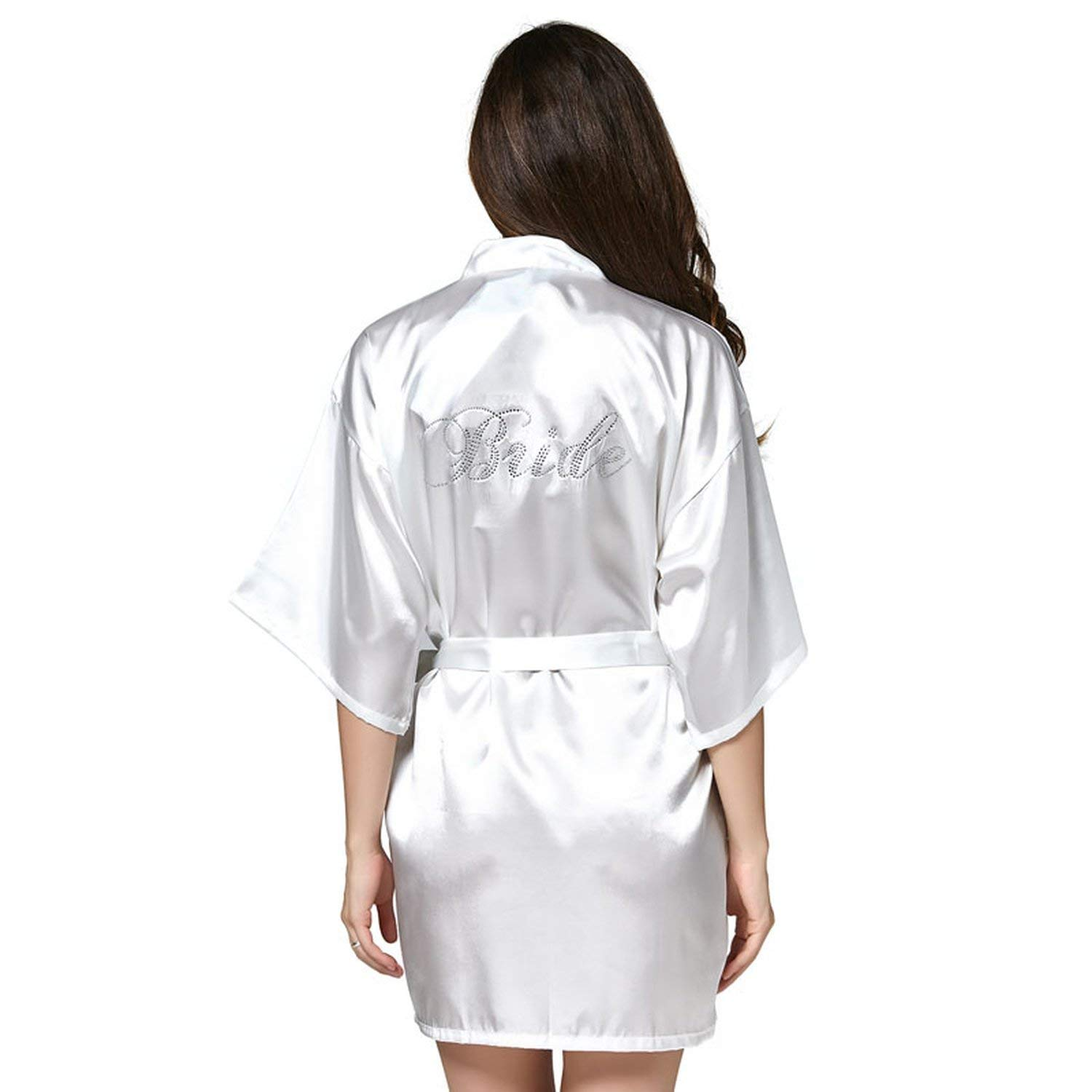 99c63a051a Get Quotations · Unique-Shop Women Bathrobe Robes Kimono Pajamas Gowns Women  Home Robes Clothes Silk White Dress