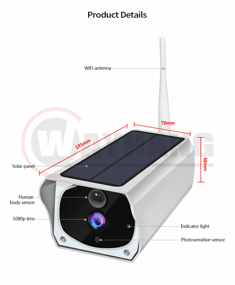 HD 1080P Solar Power WIFI IP Camera Wireless 2MP Camera Waterproof Outdoor Low Power Battery Security Camera