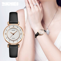 2018 skmei 1330 classic design mineral glass custom logo lady leather watch strap japan movt quartz watch stainless steel back