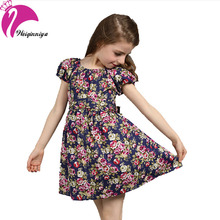 New 2016 European Style Baby Girls Dress Summer Cotton Short-Sleeve Flowers Floral Dresses Vestido Infantil Children's Clothing