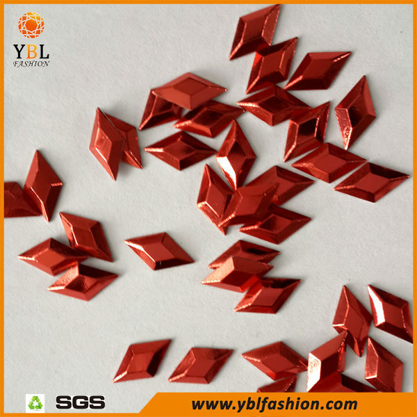 Dark Red Rhombus Shaped Hotfix Octagon Metal Studs